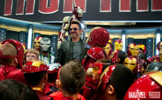 Robert Downey, Jr. at the Marvel Booth's Iron Man kids costume event at SDCC 2012