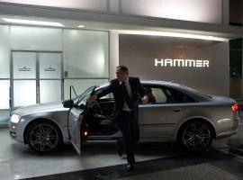 Happy Hogan races from the Audi A8L in Marvel's Iron Man 2