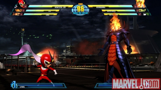 Screenshot of Dormammu and Viewtiful Joe from Marvel vs. Capcom 3