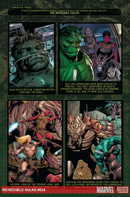 Incredible Hulks #624 recap page