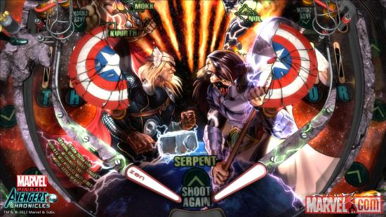 Screenshot from the Marvel Pinball: Avengers Chronicles Fear Itself table