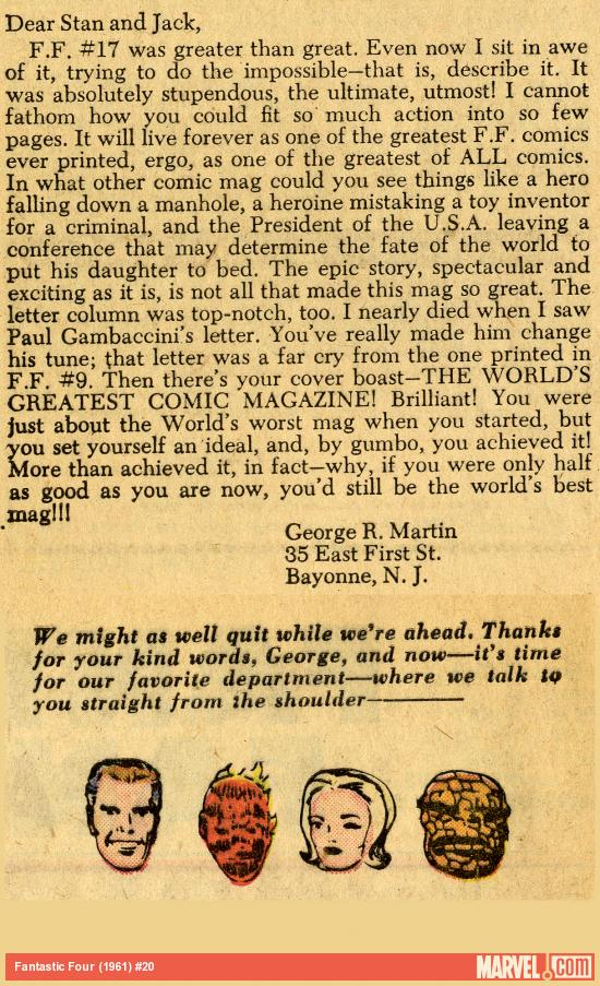 George R. R. Martin's letter printed in Fantastic Four (1961) #20
