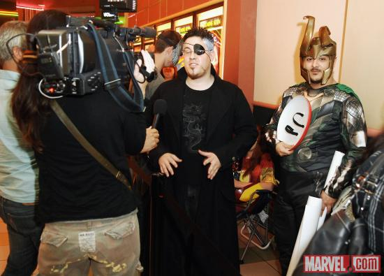 Marvel fans dressed as Nick Fury and Loki