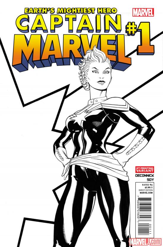 Captain Marvel #1 second printing variant cover by Ed McGuinness