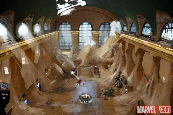 Concept art of Grand Central from LEGO Marvel Super Heroes