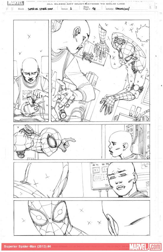 Superior Spider-Man #4 preview pencils by Giuseppe Camuncoli