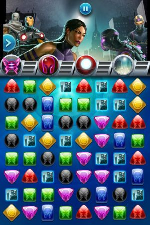 Psylocke readies her attack in Marvel Puzzle Quest: Dark Reign for iOS devices
