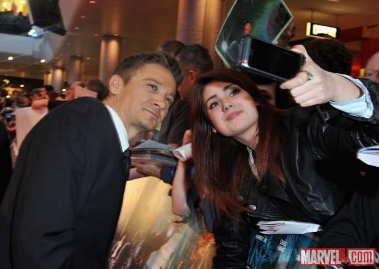 "Jeremy Renner with fans at the London premiere of ""Marvel's The Avengers"""