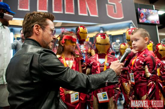 SDCC 2012: Robert Downey Jr at the Iron Man 3 Kids Costuming Event