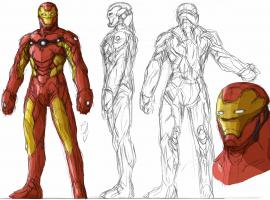 Concept art for Tony's armor in Iron Man: Rise of Technovore
