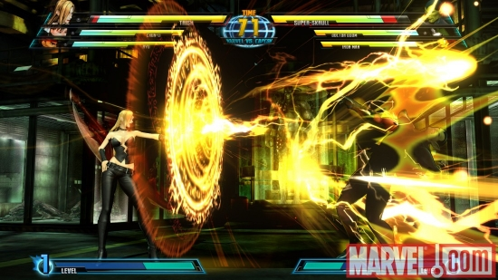 Screenshot of Super Skrull and Trish from ''Marvel vs. Capcom 3''