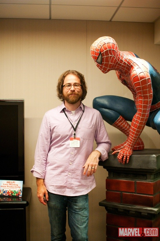 Jonathan Coulton with Spider-Man at Marvel HQ in NYC