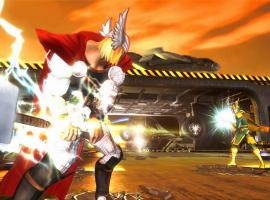 Screenshot of Thor vs. Loki in Marvel Avengers: Battle for Earth