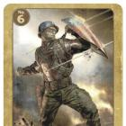 The front of Captain America trading card #6 from the Marvel Cinematic Universe
