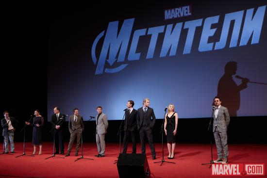 The cast on stage at the Moscow premiere of Marvel's The Avengers