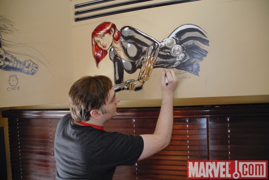 Michael Ryan drawing Black Widow at the Palm in 2009