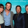 Cobie Smulders, Chris Hemsworth, Robert Downey, Jr., and Kevin Feige at D23 2011