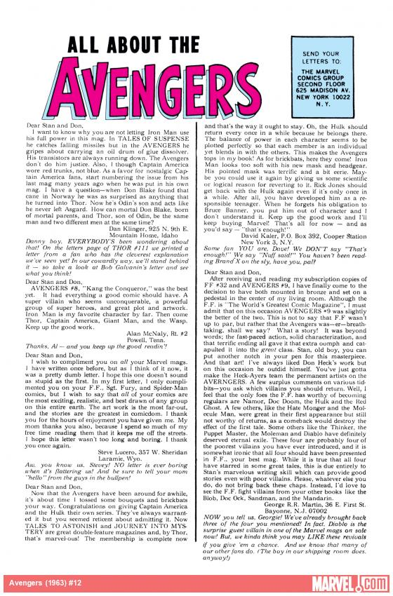 Avengers (1963) #12 letters page