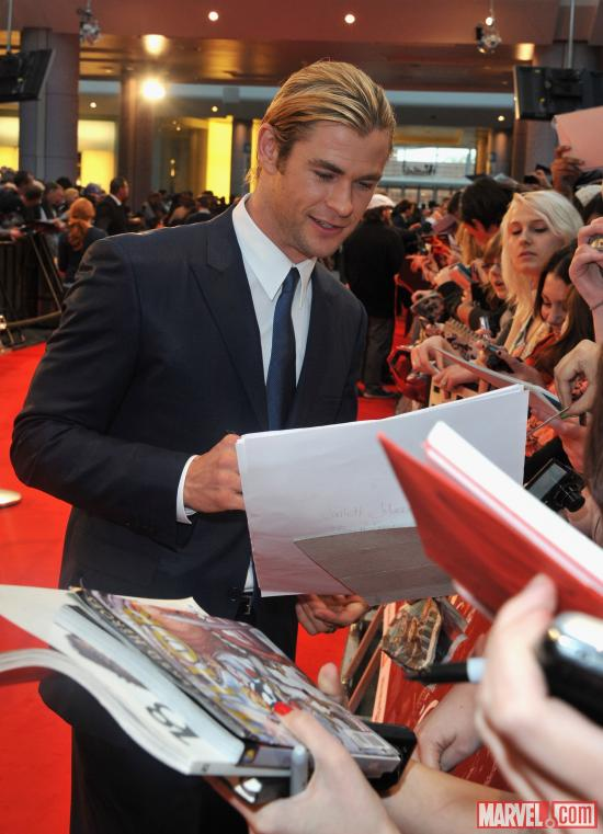 "Chris Hemsworth at the London premiere of ""Marvel's The Avengers"""