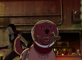 Cosmo plays with Groot in 'Marvel's Guardians of the Galaxy'