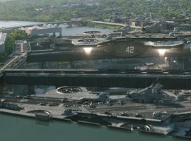 The Helicarrier takes flight in Marvel's Captain America: The Winter Soldier
