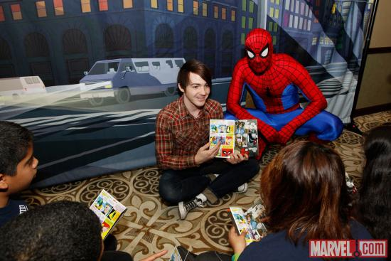 Drake Bell (Ultimate Spider-Man) reading to kids at the Reading With: Marvel Comics Up-Close event