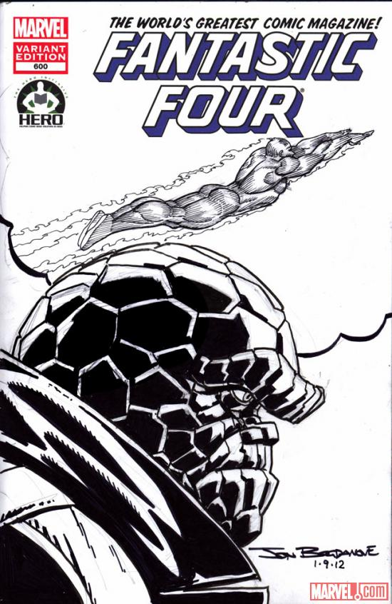 Fantastic Four #600 Hero Initiative variant cover by Jon Bogdanove