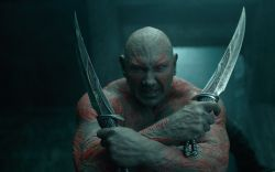 The fierce Drax (Dave Bautista) wields daggers in Marvel's Guardians of the Galaxy