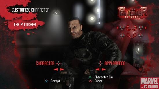 Punisher's character select screen in The Punisher: No Mercy