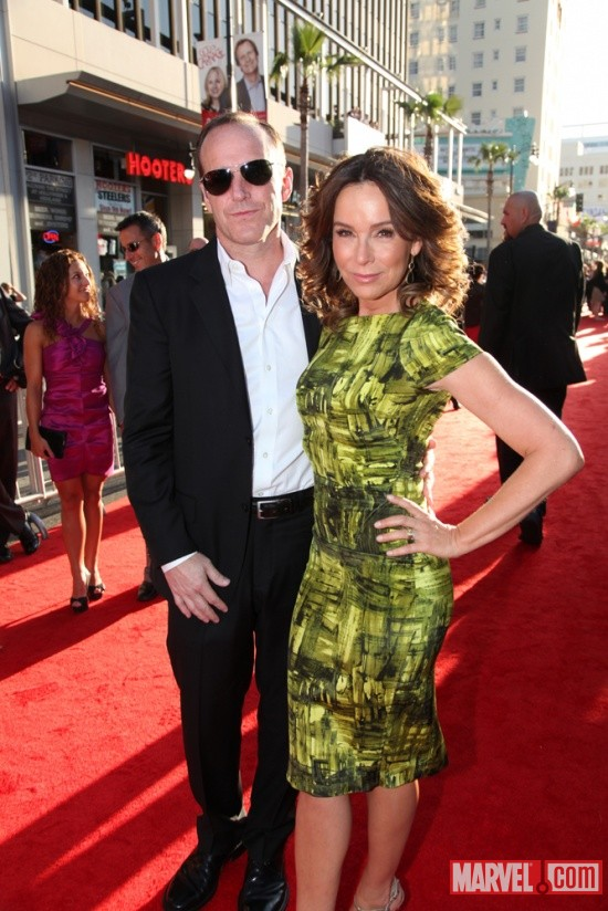 Star Clark Gregg (Phil Coulson) with wife Jennifer Grey at the U.S. premiere of Thor