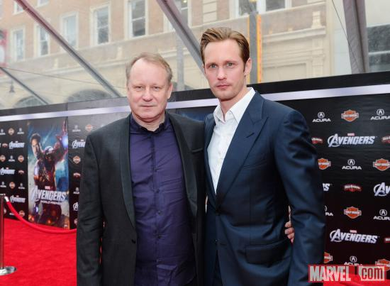 Stellan Skarsgard and Alexander Skarsgard on the Avengers red carpet