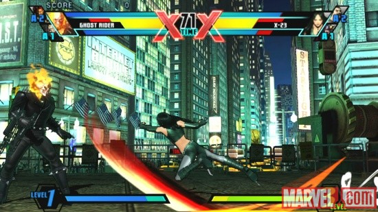 Ghost Rider and X-23 in Ultimate Marvel vs. Capcom 3 for the PlayStation Vita
