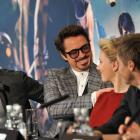 "Tom Hiddleston, Robert Downey, Jr., Scarlett Johannson, Jeremy Renner at the London press conference for ""Marvel's The Avengers"""