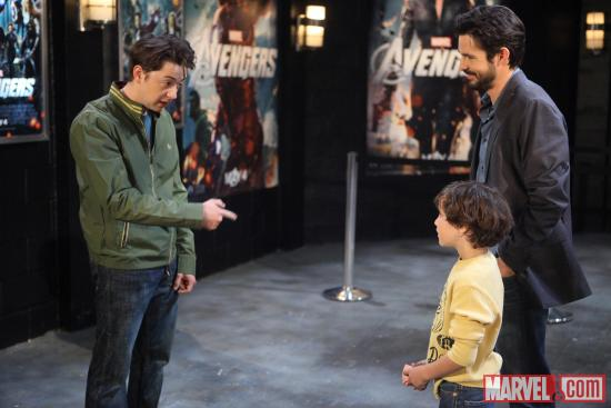 Spinelli (Bradford Anderson, left), Cameron (Braeden Walkes) and Matt (Jason Cook, right) in General Hospital