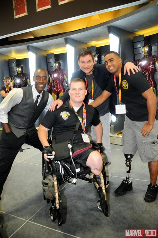 SDCC 2012: Don Cheadle and Shane Black pose with fans at the Marvel Booth
