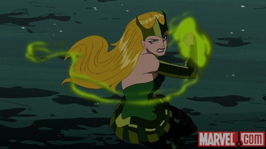 Screenshot of the Enchantress from The Avengers: Earth's Mightiest Heroes!