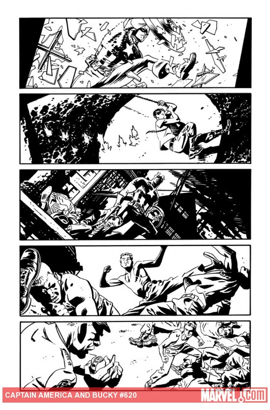 Captain America &amp; Bucky #620 preview inks by Chris Samnee
