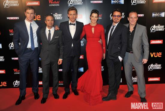 The cast on the red carpet of the London premiere of &quot;Marvel's The Avengers&quot;