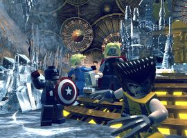 Captain America, the Human Torch, Thor and Wolverine visit Heimdall's Observatory in LEGO Marvel Super Heroes