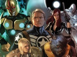 Image Featuring Black Widow, Captain America, Moon Knight, Nova, Iron Patriot (James Rhodes), Valkyrie (Samantha Parrington), Ant-Man (Eric O'Grady), Avengers