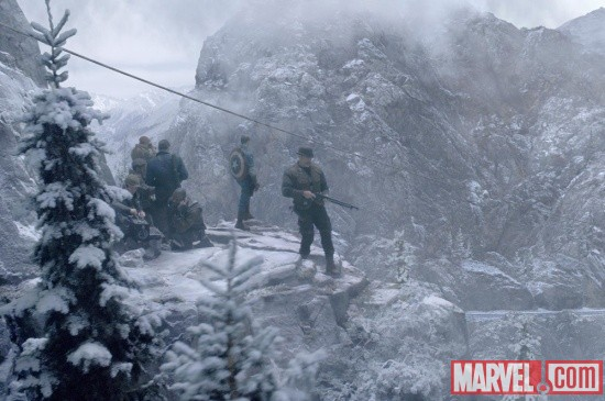 Captain America and company atop a mountain in Captain America: The First Avenger