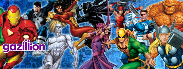 Image Featuring Iron Man, Nick Fury, Punisher, Silver Surfer, Spider-Woman (Jessica Drew), Thing, Thor, Elektra, Hawkeye