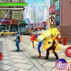 Screenshot of Spider-Man brawling in ''Spider-Man: Total Mayhem'' Spin-Kick