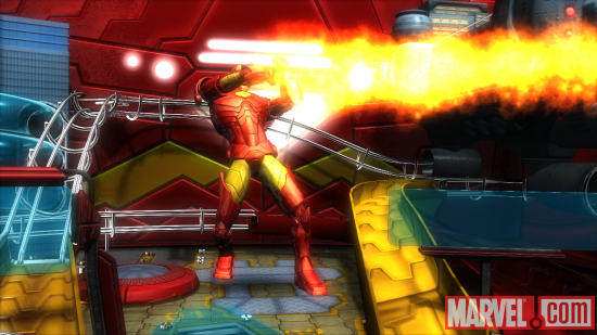 Iron Man uses his repulsor blasts in Marvel Pinball