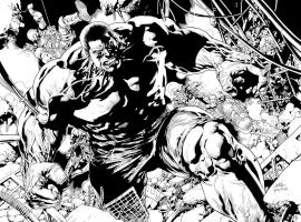 Indestructible Hulk #1 inked preview art by Leinil Francis Yu