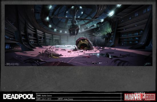 A Sentinel head decorates the Battle Dome in the Deadpool video game.