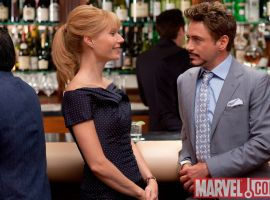 Gwyneth Paltrow and Robert Downey Jr. as Pepper Potts and Tony Stark in Iron Man 2