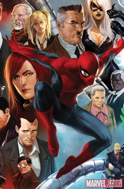 Image Featuring Black Cat, J. Jonah Jameson, Harry Osborn, May Parker, Robbie Robertson, Spider-Man, Venom (Flash Thompson)