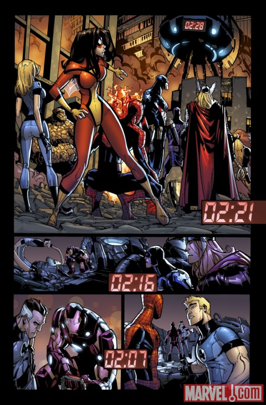 Image Featuring Iron Man, Mr. Fantastic, Spider-Woman (Jessica Drew), Spider-Man, Avengers, Fantastic Four
