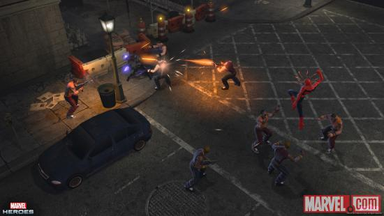 Screenshot of Black Panther and Spider-Man fighting bad guys in Marvel Heroes